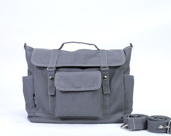 DYLAN // Dark Grey / Lined with Beige / 071 // Ship in 3 days // Backpack / Diaper bag / Shoulder bag / Tote bag / Messenger Bag / Gym bag