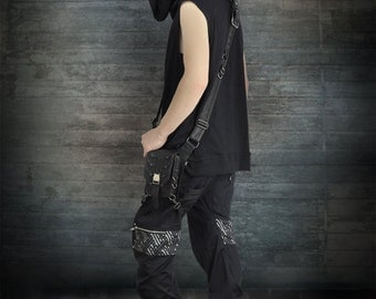Legion Pants + 3D Sayagata Silver and Grey Highlight + Silver Hardware by Loose Lemur Clothing