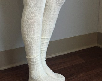 Cream Boot Socks : Brown & Tan Buttons - Over the Knee Knit Cotton Socks