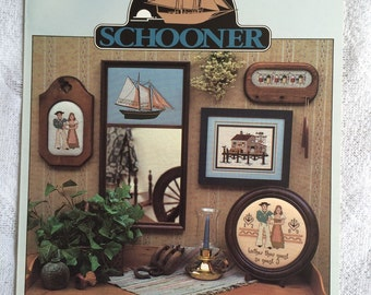 Schooner Ship Counted Cross Stitch Pattern Chart, New England Wedding Sampler, Bait Shack & Pier, Donna Gallagher Pattern
