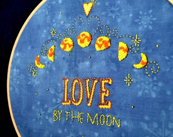 Modern embroidery, moon embroidery design, hand embroidery patterns, valentines diy gift