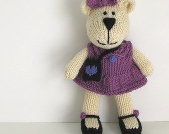 Knit Doll - Knit Bear - Kids Toy - Stuff Toy - Stuff Teddy Bear - Plush Doll -  Knit Toy - Kids Room Decor - New Baby Girl Gift - Addison