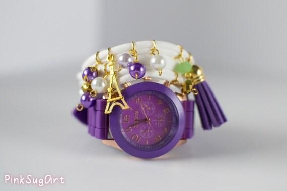 Bracelet and Watch Set Purple Triple Wrap Bracelet Lycra Bracelet And Watch Set With Gold Charms Pearls Eiffel Tower Bracelet