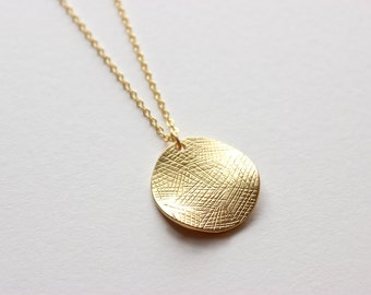 Gold Necklace - Long Necklace - Circle Necklace - Matte Gold Wavy Coin Pendant on Matte Gold Chain