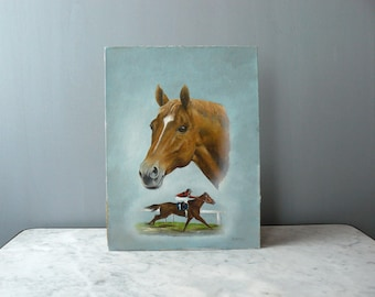 Original painting. Equestrian original oil painting. Vintage art. oil on canvas. Horse painting