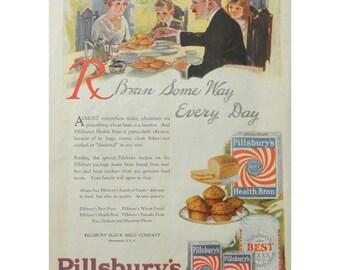 1920 Pillsbury Ad - Vintage Food Ad For Cereal and Pancake Flour