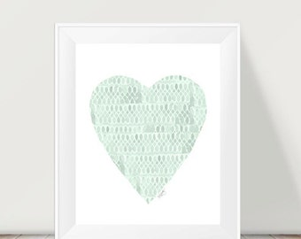 Mint Baby Nursery, Mint Heart, Watercolor Heart, Mint Nursery Art, Mint Nursery Decor, Nursery Print, Mint Room Decor, Neutral Nursery