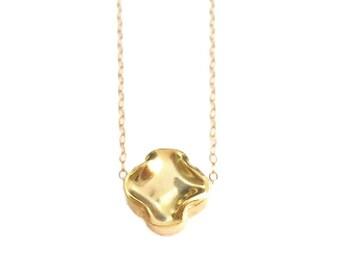 Gold Clover Necklace, Clover Jewelry, Gold Cross Necklace, Good Luck Quatrefoil Necklace, Cross Necklace Women