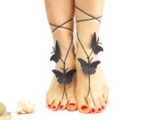 Leather Barefoot Sandal, 12 color options, Wedding Anklet, Genuine leather butterfly, Dark blue, chamois leather, Natural anklet
