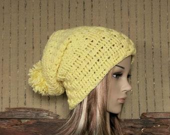Crochet Hat, Women's Chunky Hat With Pom Pom, Men Slouchy Beanie, Winter Fall Accessories Warm Lemon Hat