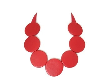 Red Leather Circle Necklace, Statement Necklace, Large Disc Necklace, Leather Jewellery, Evening Necklace, Gift for Her