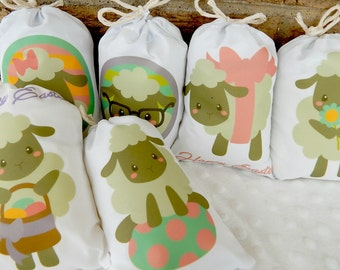 "Easter Favor Bags Happy Lambs for gifts or treats can be Personalized  5"" X 7"" or  6"" X 8""  Qty 6"