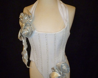 White and Silver Rose Trimmed Flat Fronted Historical Halter-Neck Corset.