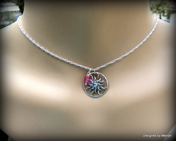 Sterling silver sunburst necklace, birthstone necklace, celestial jewelry, sun burst