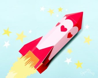 Rocket Valentine, Valentines Day Favor Box, Gift Box, Rocket Favor, Rocket Treat Box, Pink Rocket, Outer Space, Out of this world Valentine