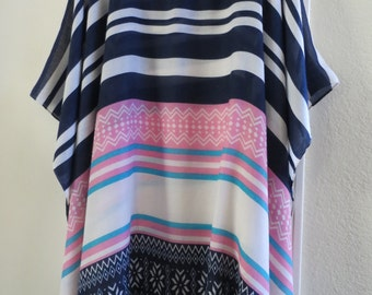 Stunning  Striped Kaftan,  Beach Coverup,  Resort Wear,  Striped Tunic, Womens Caftans, Plus Size