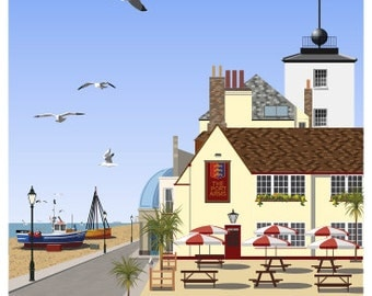 DEAL. Travel poster of Deal Seafront & Port Arms Pub, Kent. A4, A3, A2