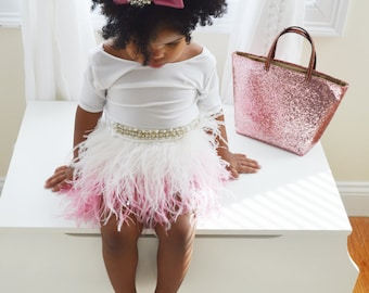 Pink Ombre Feather Skirt