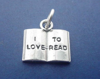 Book Charm, I LOVE To READ, Reading Book, Novel, Student .925 Sterling Silver Charm