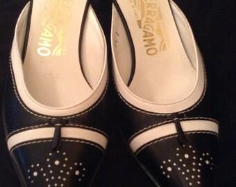 FERRAGAMO BLACK and White Spectator Slides. Sz 7.5b.  Classic. Leather. Made in Florence, Italy. Kitten heel. Good vtg. cond.