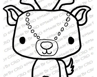 Stamp, for Christmas, Cute Reindeer, Instant download, printable ...