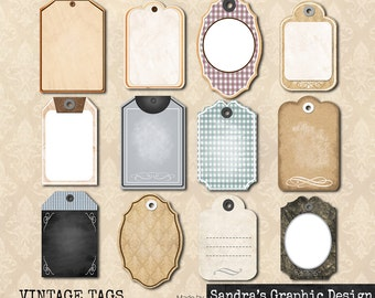 "Tags digital clipart ""VINTAGE TAGS"" with 12 different tags, vintage look, clipart 300 dpi PNG  files (5017)"