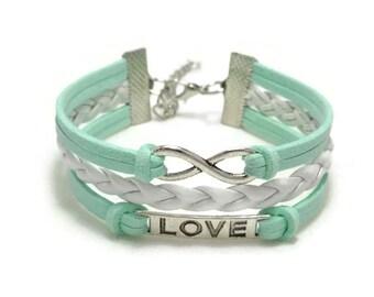 Infinity Bracelet, Infinity Love Bracelet, Leather Braid Bracelet, Fashion Jewelry, Infinity Jewelry, Gift for Her, Bohemian Bracelet