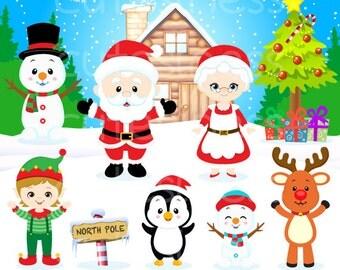 Christmas Clipart, Christmas Digital Clipart, Santa Clipart, Santa claus Clipart