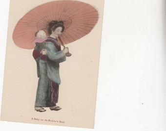 C1910s Japanese Mother W Big Parasol Carries Baby On Her Back Postcard