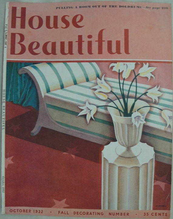 House Beautiful October 1932 Vintage Magazine Cover