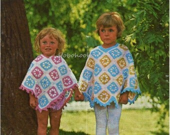 baby / childrens CROCHET PATTERN granny squares poncho crochet pattern 1960s 20-28 inch dk childrens crochet pattern PDF instant download
