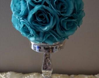 "Teal / Jade flower balls, WEDDING CENTERPIECE, wedding pomanders kissing balls, flower girl 6"", 7"", 8"", 10"" ,12"", 14"", 16"", 18"""