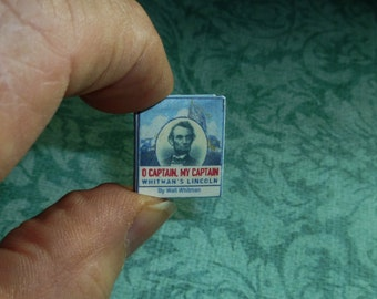 WALT WITMAN O CAPTAIN My Captain Dollhouse Miniature Book, The Complete Poem, Readable in 12 Pages!
