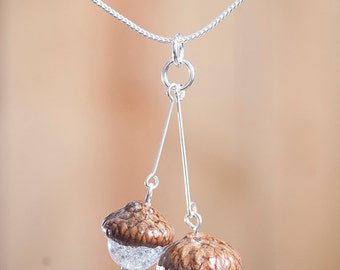 Real Acorn PENDANT with Quartz + Sterling Silver handmade by Nuttier Than A Squirrel - crystal, sparkle, glitter, woodland wedding, fairy