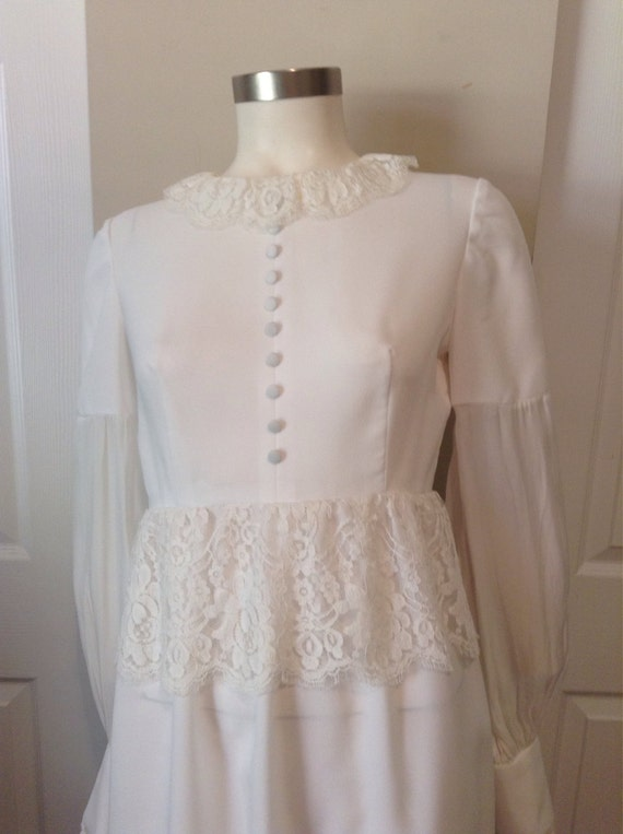 70s old fashion wedding dress floor length empire by for 70s style wedding dress
