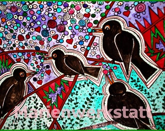 Blackbirds sing a morning song - original painting, gift for children