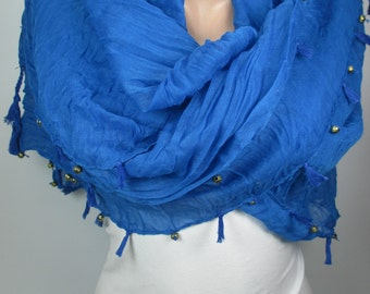 Tassel Scarf Cobalt Blue Scarf Shawl with Golden Beads Cowl Scarf Christmas Gift Ideas For Her Bohemian Women Fashion Accessories MELSCARF