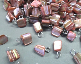 Mother of Pearl Pendant Charms, Pink MOP Tumbled Drops, Pick Your Amount, C82