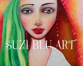 Print of Love Yourself Mixed Media Original Painting by Suzi Blu