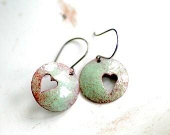 Robins Egg Blue Earrings, Enameled Copper Earrings, Heart Jewelry, Mint Green and Red Earrings, Pastel Jewelry, Dangle Earrings