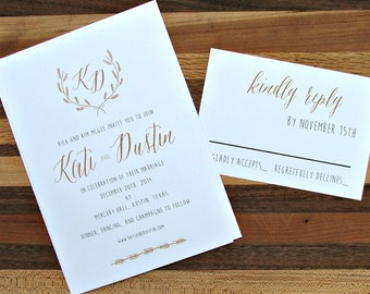 Simple wedding invitations, Gold Wedding Invitation, Monogram suite