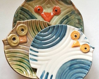 decorative Owl plate collection: whimsical bird design Buy one or all three HM by potter