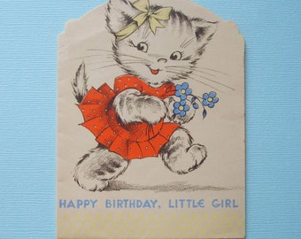 Vintage Cat Kitten Birthday Greeting Card with Secret Messages