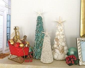 Seashell Christmas Trees - Set of 3 - Shell Trees/Seashell Trees/Beach Trees/Beach Christmas