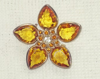 Vintage Czech Amber Glass Star Floral Brooch Pin (B1-6)