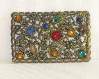Vintage Multicolored Floral Rhinestone Brooch Pin (B-3-1)