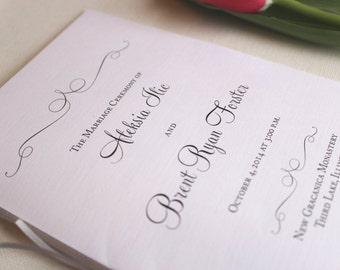 Silver Wedding Programs with Ribbon, Wedding Program, Ceremony Program Booklets, Vintage Wedding Programs - Aleksia Silver Program Sample