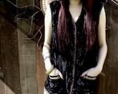 Black Crushed Velvet Vest, Renaissance Black Vest, OOAK Design, Art to Wear, Bohemian, Hippie, Free  US Ship