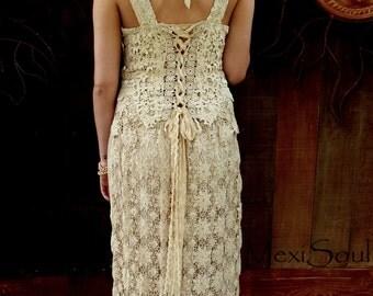 Unique Lace Wedding Dress, 2pc Tea Dyed Wedding Dress, Eco Wedding Dress, Couture Wedding Dress, Boho Wedding Dress