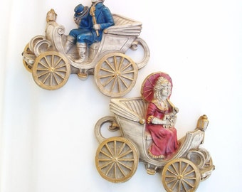 Vintage Chalkware | Wall Plaques | Plaster Wall Decor | Victorian Wall Art | 3D Wall Plaques - Set of 2